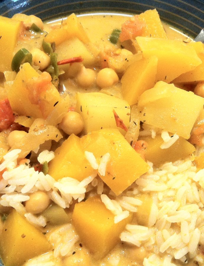 Jamaican butternut sqaush and chickpea curry