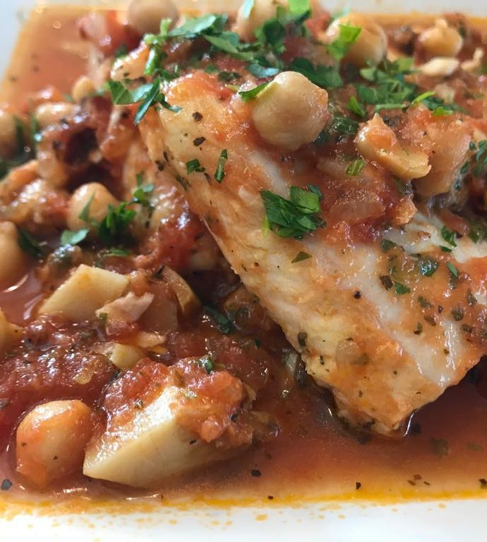 Tilapia and chickpeas in homemade tomato sauce
